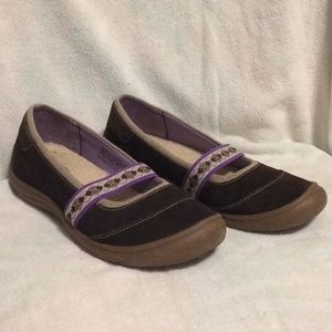 Lands End Mary Jane Brown Suede Flats Size 7 1/2B